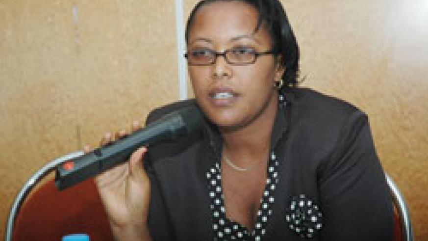 Former Permanent Secretary in the Ministry of Justice Esperance Nyirasafari during the handover ceremony.