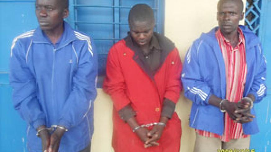 The three suspects after being arrested.(Photo: B. Mukombozi)