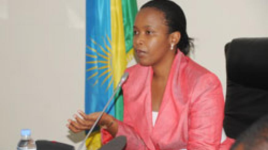 Claire Akamanzi announcing the reforms during the news conference yesterday (Photo J Mbanda).