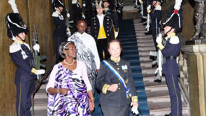 Amb Venetia Sebudandi, and Second Counselor, Evode Mudaheranwa, leave the Royal Palace in Stockholm after her meeting with the King.(Photo courtesy of Ambarwanda Sweden)