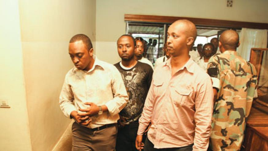 (L-R) Singer Faycal and Joseph Mushyoma, C.E.O of the East African Promoters heading to the hospital's conference room.
