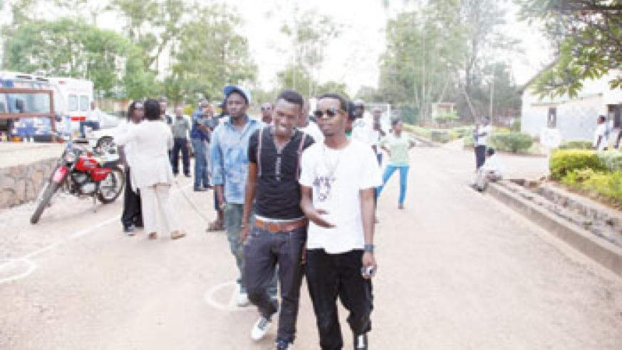HERE WE COME Primus Guma Guma Superstar finalists arrive at Kanombe Military Hospital (All photos by T. Kisambira)