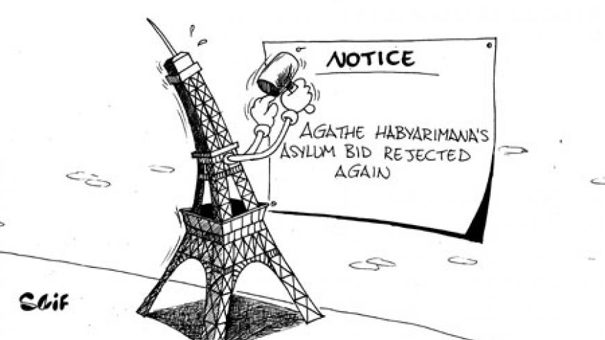 A request for asylum by the former First Lady, Agathe Kanziga Habyarimana, was turned down again by the French interior ministry