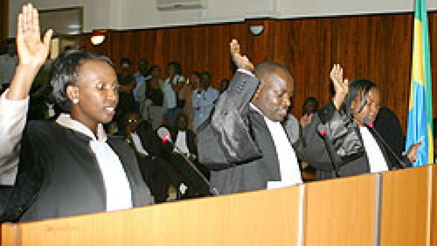 Lawyers being sworn in recently, KBA members were yesterday briefed on Common Market protocol (File photo)