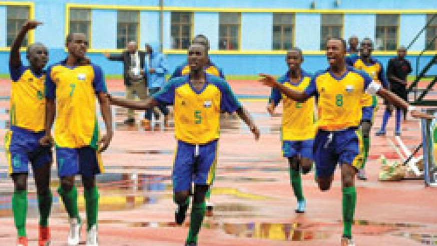 Junior Wasps  celebrate after scoring in the Caf U-17 Championship. (File Photo)