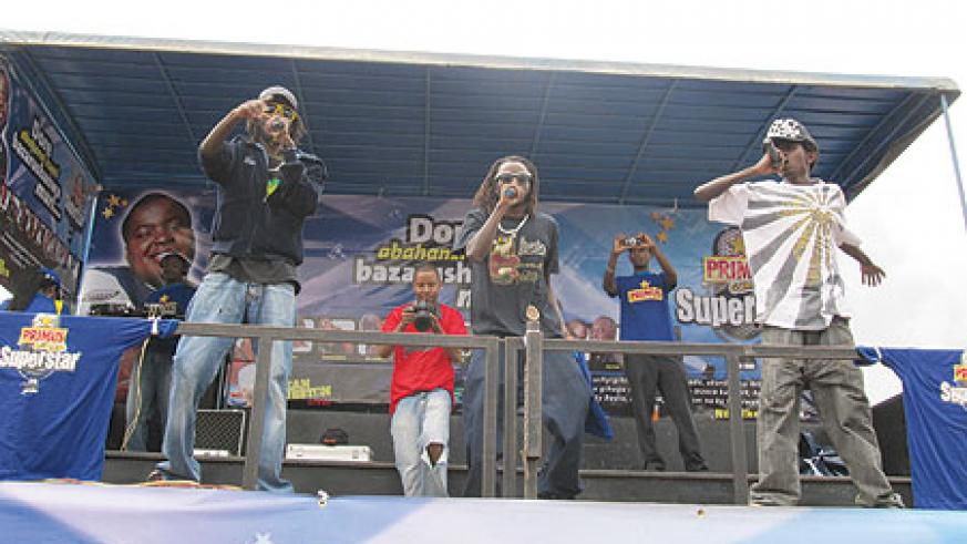 Rafiki (centre) together with his crew on stage.