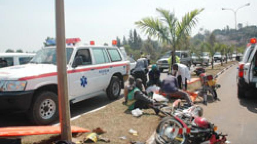 Medics attend to accident victims. Police says road accidents are on the decline (File photo)