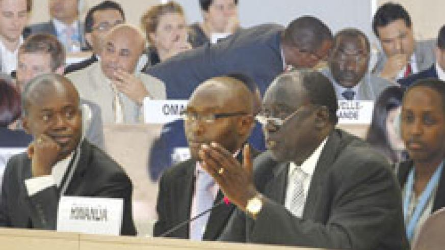 Karugarama addresses the Geneva meeting that unanimously approved the report on Rwanda, yesterday (Courtsey Photo)