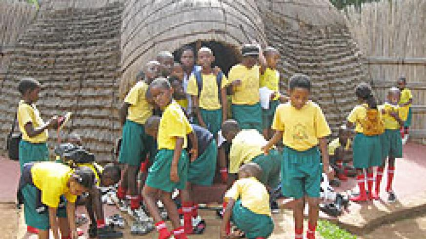 Children on a tour of the Nyanza museum. Government will soon encourage Rwandans to visit museums (File Photo)