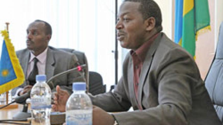 MINALOC P.S.  Cyrille Turatsinze, together with Fred Mufulukye, the DG of Territorial Administration during the news conference (Photo T.Kisambira)
