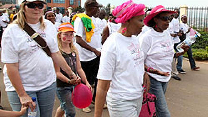 Participants take part in yesterday's walk against breast cancer campaign in Kigali (Photo T Kisambira)