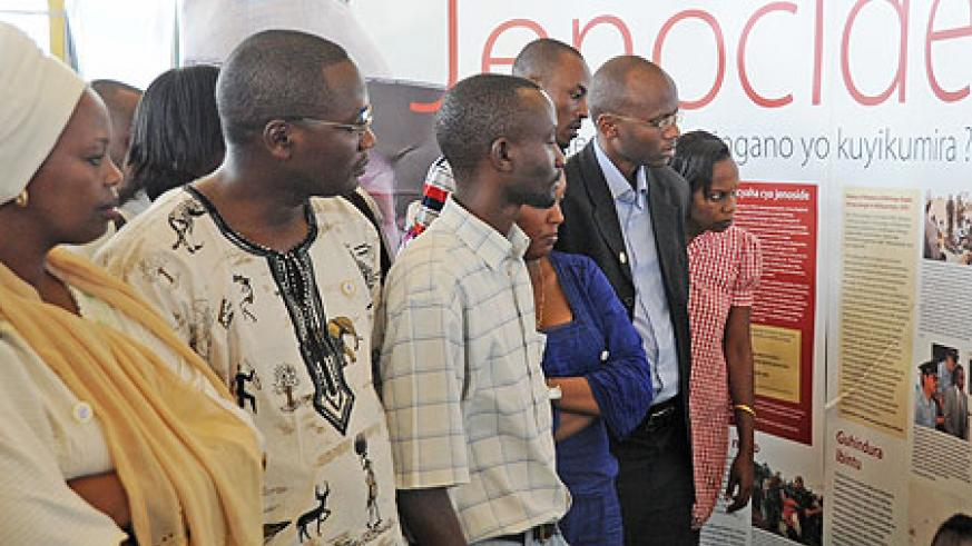 Rwandans at the Genocide exhibition at Petit Stade in April. A similar event is taking place in Huye (File Photo)