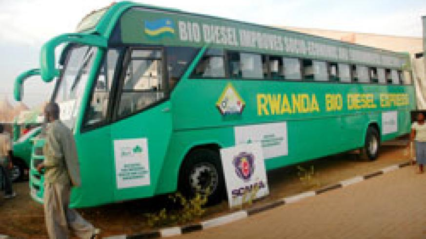 A Bio-diesel powered bus. IRST has embarked on a campaign to encourage Rwandans to use the environmental friendly energy  source (File Photo)