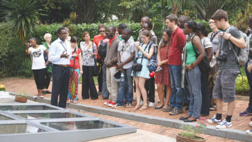 Journalists observed the effects of 1994 hate media in Rwanda, at the Gisozi Genocide Memorial Centre. (Courtesy Photo)