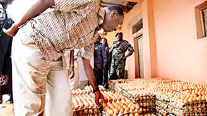 Prime Minister Makuza examines trays of eggs at Theophile Mushimimana's Poultry farm in Rulindo. (Photo T.kisambira)