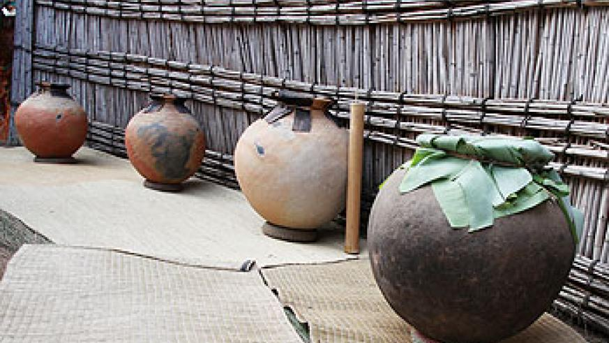 some of the Rwandan traditional pots that where used to make and keep the local brew