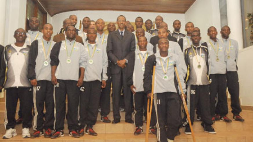 U-17 with President Paul Kagame at the President's office. The president hosted the team after it qualified for the fifa World Cup early this year.