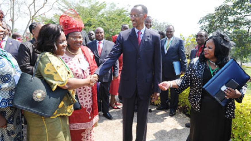 President Kagame greets members of the C'wealth Parliamentary Association - Africa, yesterday. (Photo Village Urugwiro)