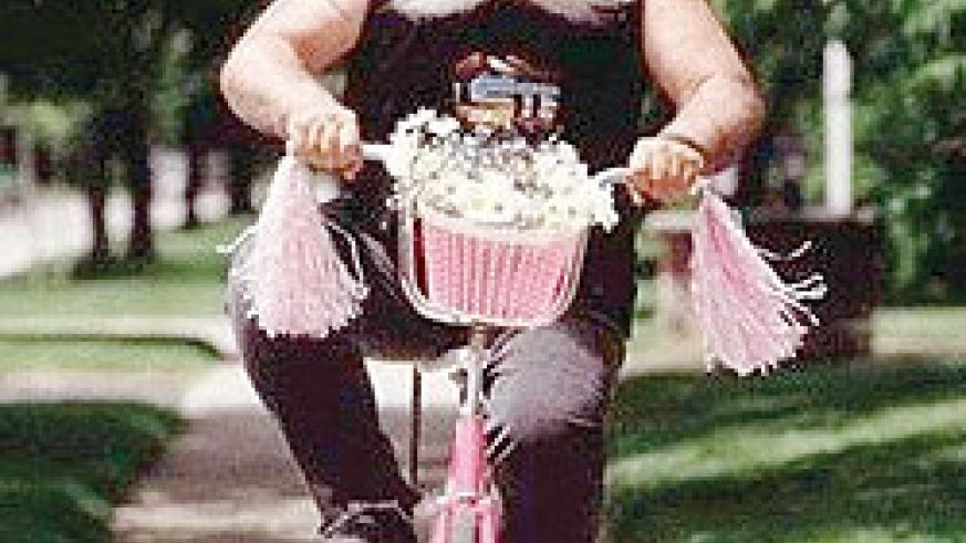 There are some exterme cases of midlife crisis, read, an adult riding a girls pink bicycle.