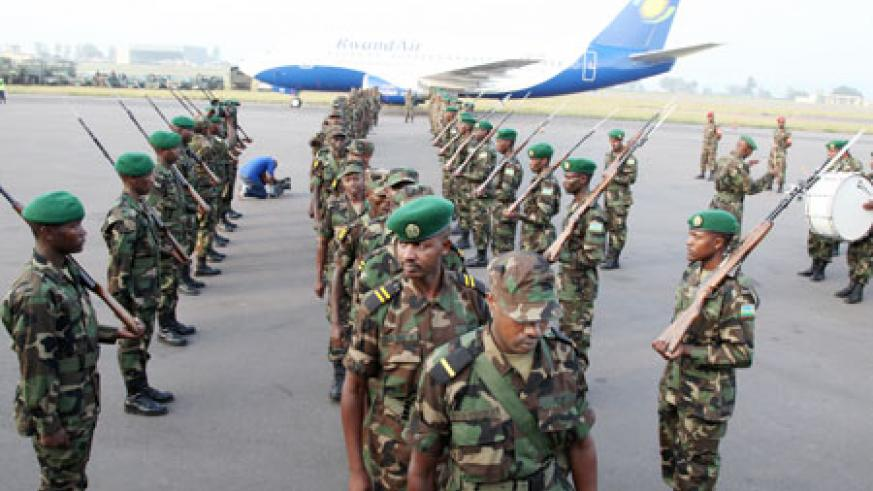 RDF personnel depart for the Sudan peace mission yesterday (Photo T.Kisambira)