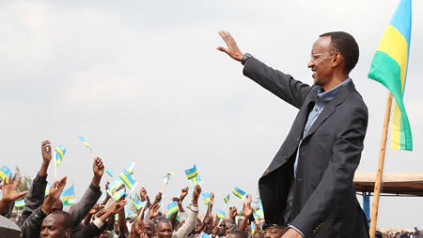 President Paul Kagame greets excited residents of Gicumbi. (Photo by T Kisambira)