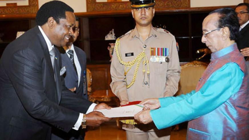 Williams Nkurunziza presents his letter of credence to the Bangladeshi President, Zillur Rahman (Courtesy Photo)