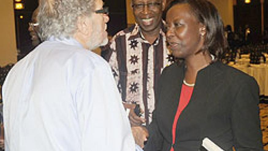 L-R; Dr Gerry Caplan, Amb. Joseph Mutaboba and Foreign Affairs Minister, Louise Mushikiwabo, at the Liberation conference yesterday. (Photo J Mbanda)