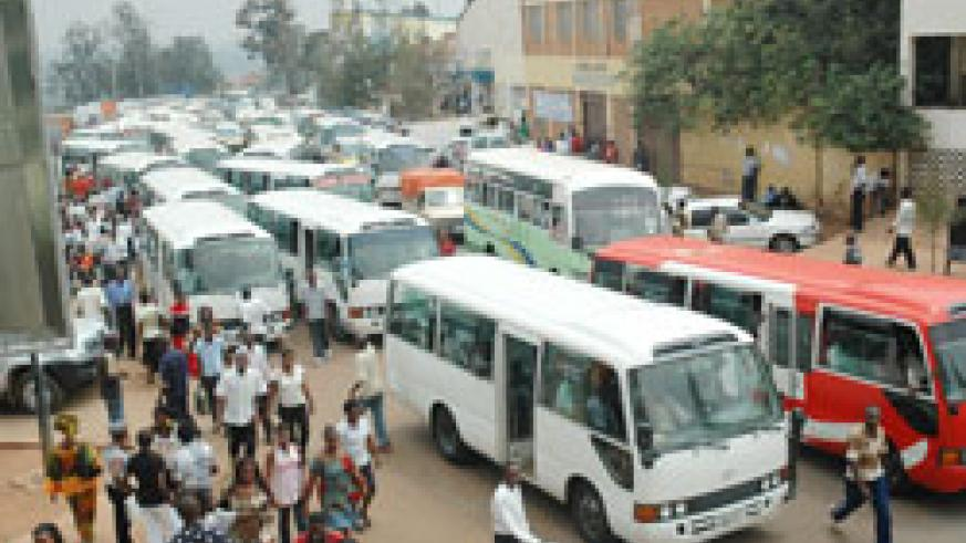 Public service vehicles near the popular Rubangura House bus terminal in the Kigali city centre have been blamed for traffic congestion in Kigali (File photo)