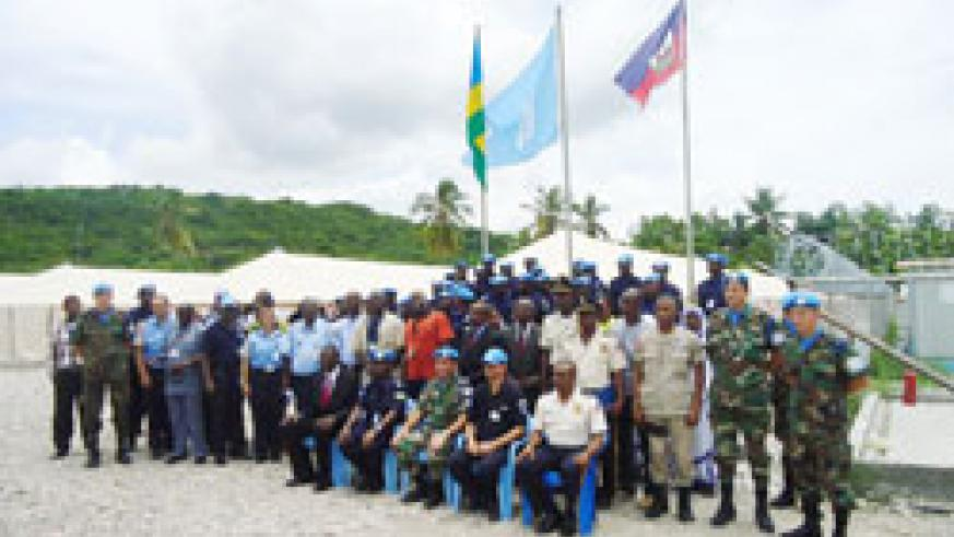 Rwandan police peacekeepers in Haiti and their colleagues from other countries during the Liberation Day celebrations (Courtesy Photo)