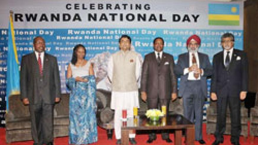 The Rwandan envoy to India Williams Nkurunziza (fourth from left) is joined by Indian officials during the Liberation Day celebrations in New Delhi (Courtesy Photo)
