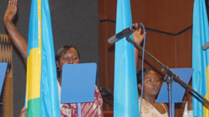 Rwandan women parliamentarians take oath during an earlier event. A UN report names Rwanda as the leading country in women representation in politics yet again (File Photo)