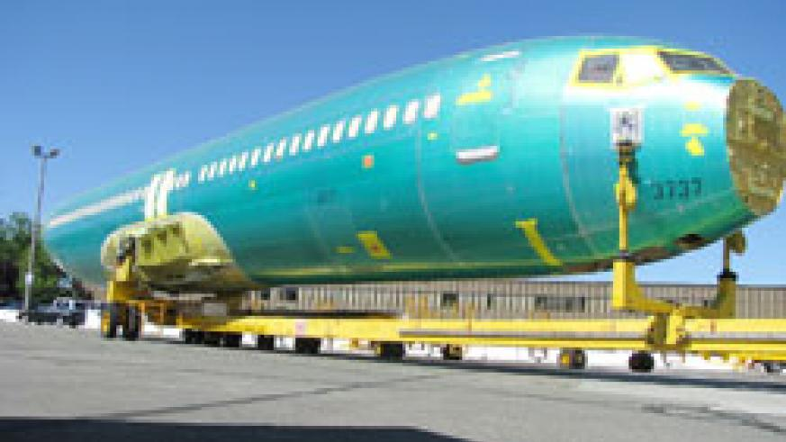 The body of the new RwandAir boeing 737-800 whose assembly works began yesterday at Boeing's Seattle plant in the US (Courtesy Photo)