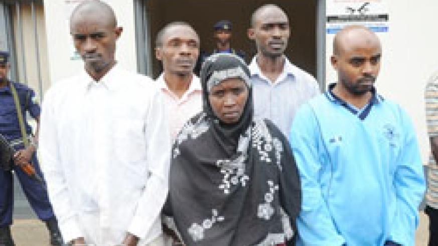 The suspects who were arraigned before the Nyarugenge Higher Instance Court yesterday  (File Photo)