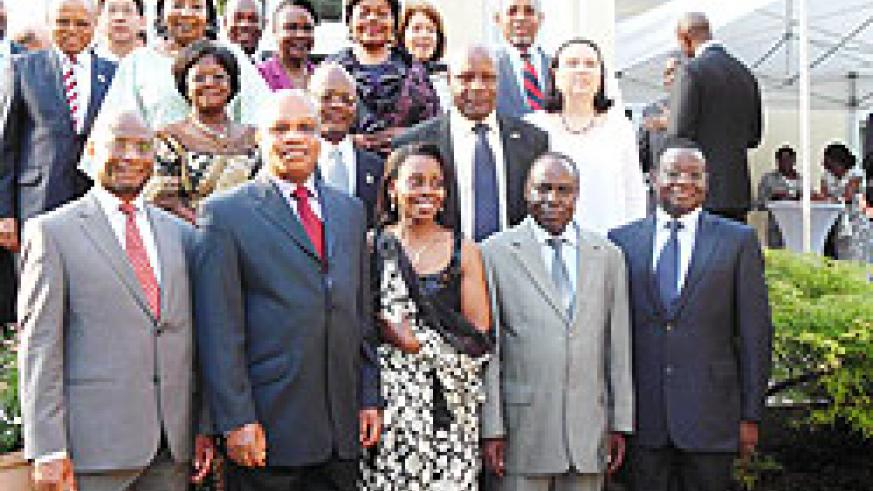 Amb.Christine Nkulikiyinka (front row centre) in a group photo during the 17th Liberation Day celebrations in Germany (Courtesy photo)