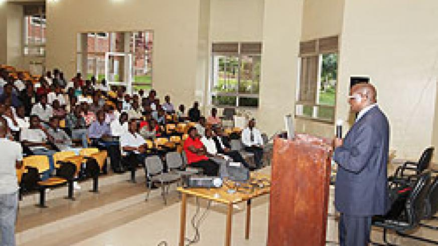 Brig. Gen. Richard Rutatina addresses students and staff of KIST (Photo T Kisambira)