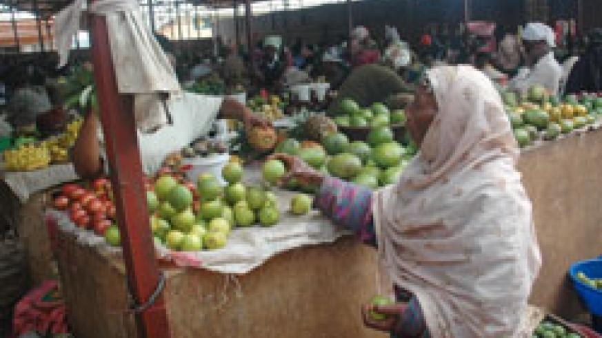Fruits in Kimironko Market. The new Fruit and vegetable market designated for Masaka has been relocated (File Photo)