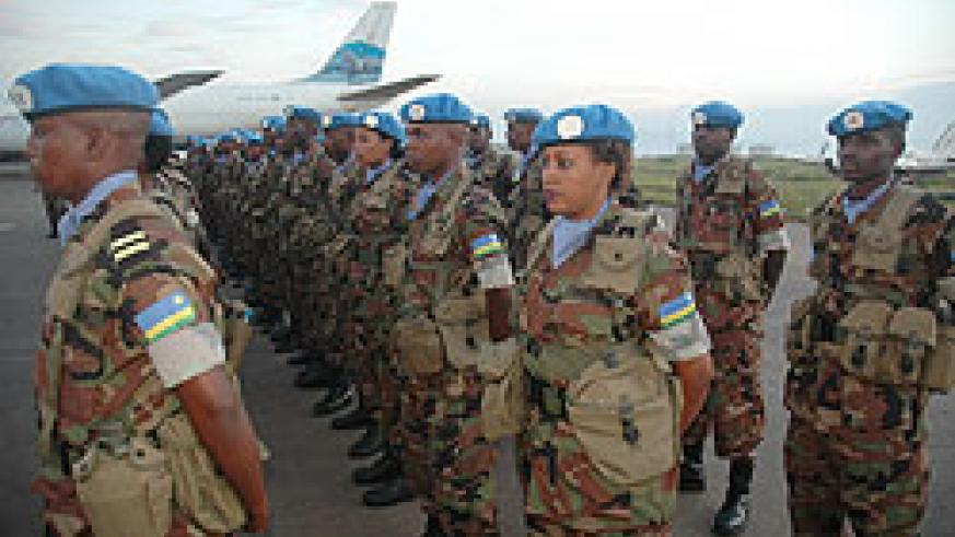 Rwandan peacekeepers prepare to leave for Sudan. The UN Security Council resolution to call off the Sudan mission has seen the troops re-assigned (File Photo)