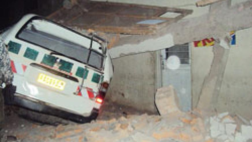 The scene of the accident at Nyabisindu trading centre where a taxi rammed into a building. (Photo D Sabiiti)