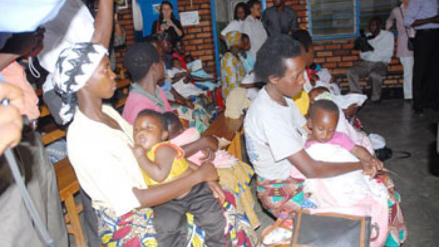 Mothers at a Health Centre, in the past most of the diseases reported in health facilities were related to malaria(File Photo).