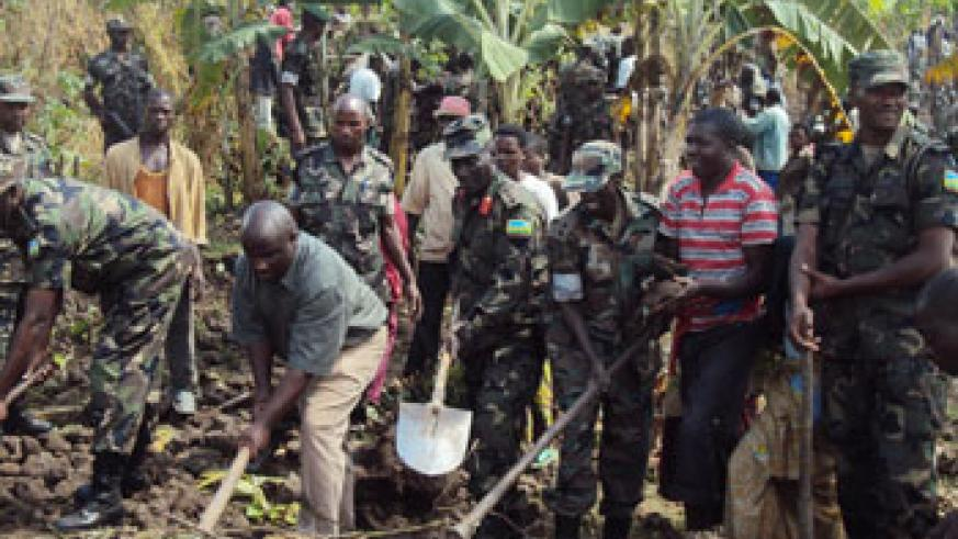 RDF soldiers have participated in several activities aimed at improving standards of living for Rwandans (File Photo)
