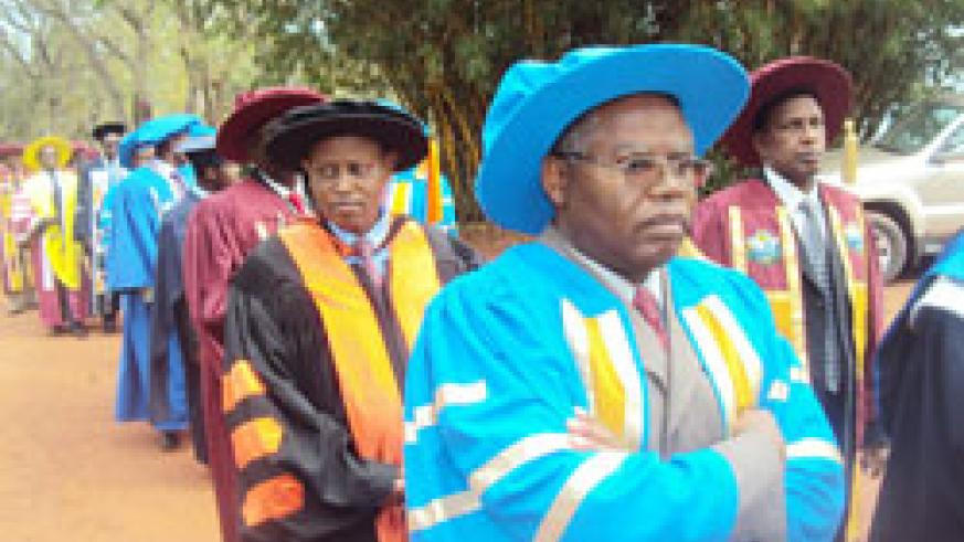 Senior faculty members during the INATEK graduation ceremony last week. (Photo  S. Rwembeho.)