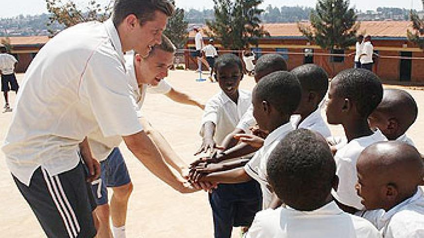 UK Conservatives began their cricket coaching programme for young Rwandans in cricket at Kabusunzu School on Monday (Photo by A. Doorey)