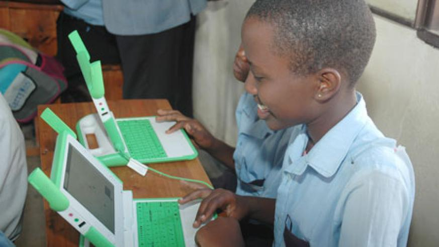 The net enrolment rate in primary schools is over 96 percent, the One Laptop Per Child (OLPC) programme aims at availing all Rwandan primary school children with laptops by 2012. (File Photo)