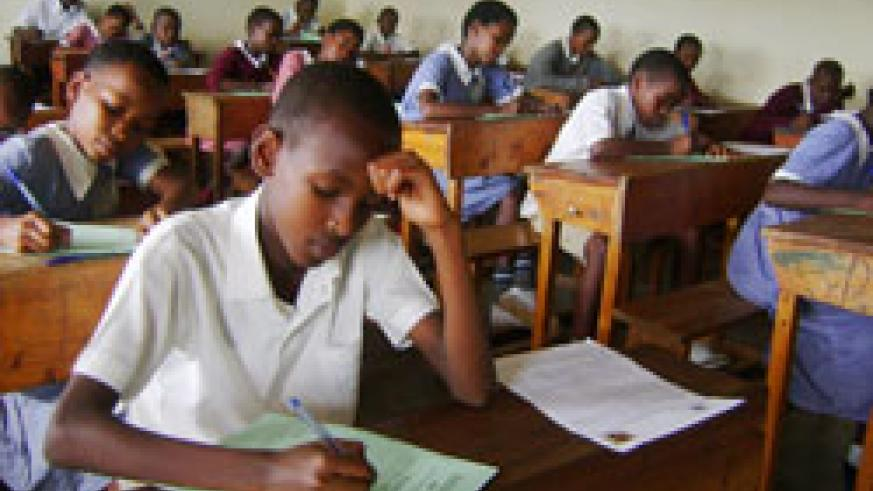 Pupils during the national examinations. The number of candidates has dropped this year (File Photo)