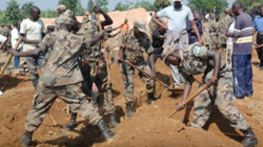 Soldiers construct houses as part of the Army Week activities that have been concluded. (Courtesy Photo)