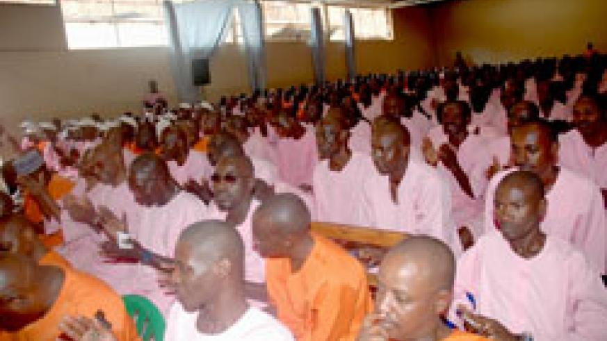 Inmates at Kigali Central Prison at a past event. 50 of them completed a leadership course (File Photo)