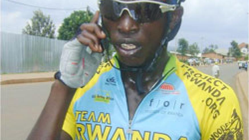 Team Rwanda's capatin Nicodem Habiyambere speaking on phone during a previous local event. (File photo)