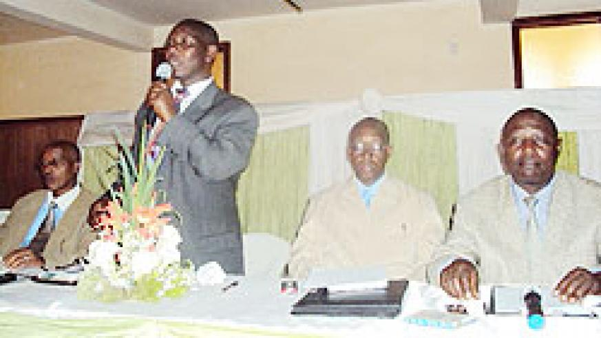 Pastor Modeste Uwabinfura,(2nd right) chaired the meeting by Pastors of the Association of Pentecostal churches in Rwanda at a Kigali hotel. The New Times Daniel Sabiiti.
