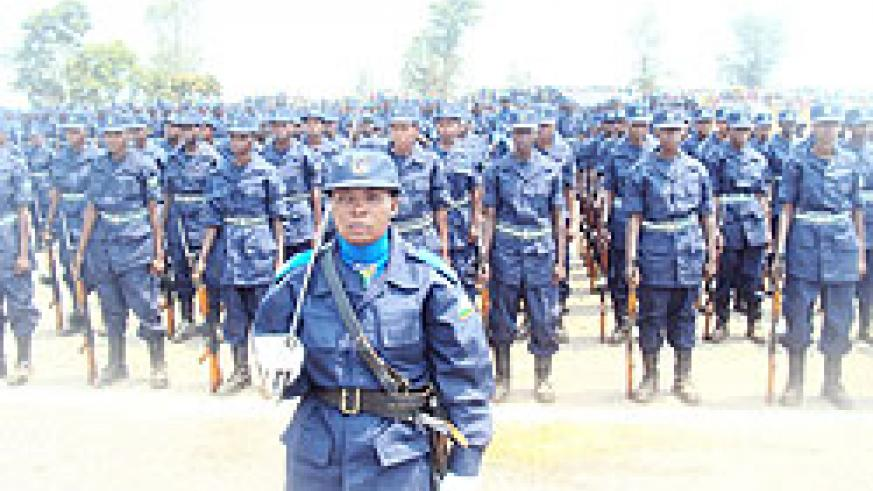 RNP constables during their pass out parade in Gishari yesterday.  The New Times/ Steven Rwembeho