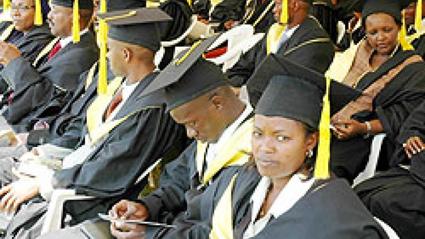 A graduation ceremony at SFB. The School has scrapped the Human Resources and Marketing Departments. The New Times File